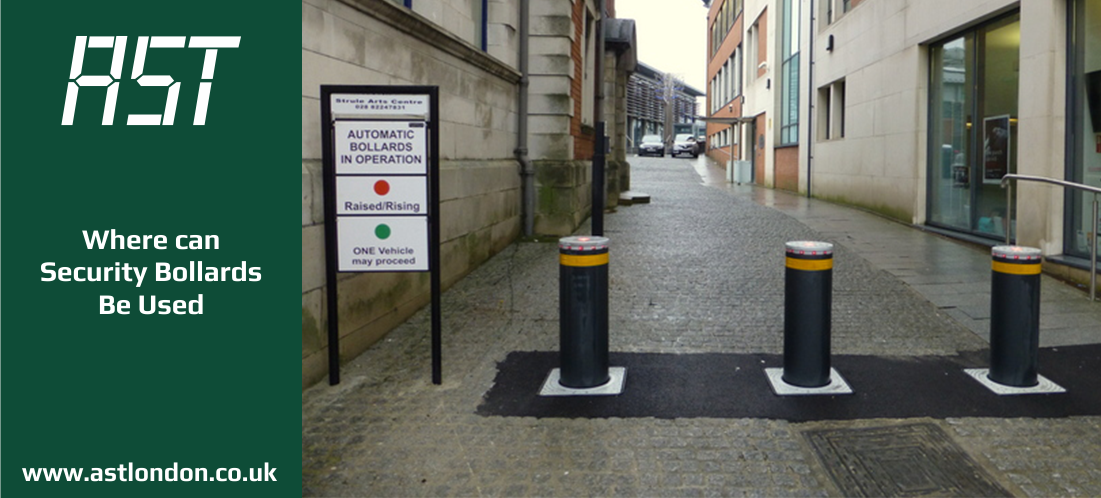 security bollards installed in street