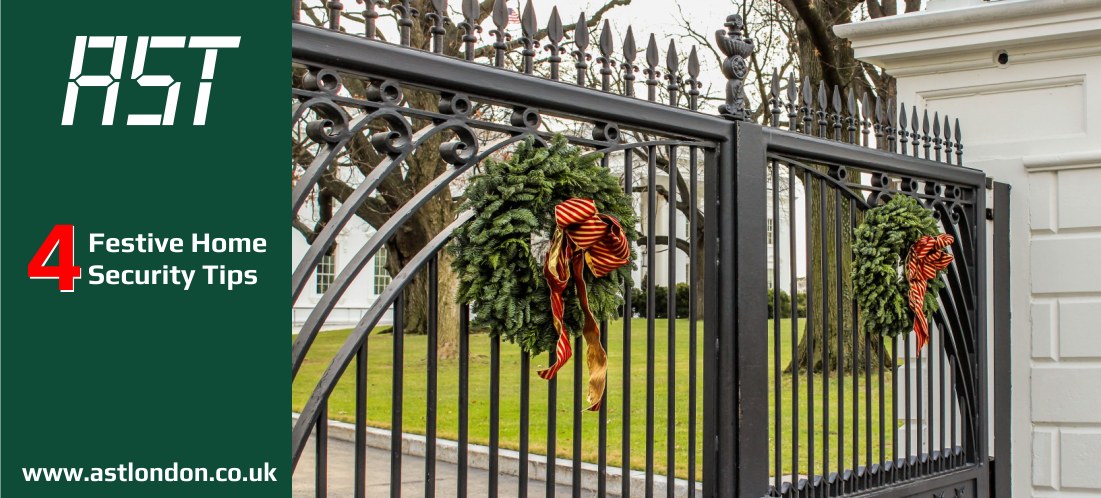 automated gate with christmas wreaths on it