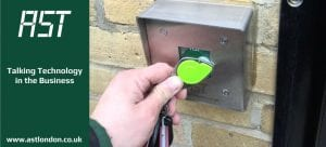 man opening security door with security fob