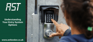 a lady keying a code into a door entry keypad